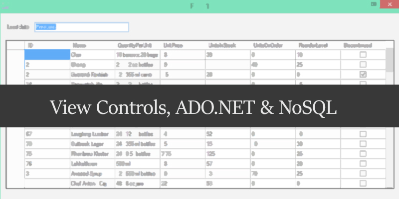 binding view controls and ado.net in nosql database